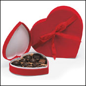 Heart shaped chocolate boxes red