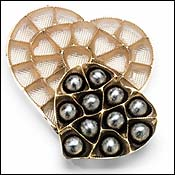 Heart shaped chocolate box inserts gold