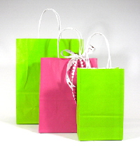 bright lime and fuchsia paper shoppers